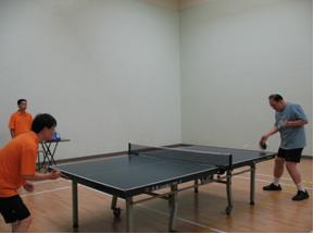 Dr. Philip Yu, Vice President of the Society, played table tennis with colleague of Statistics and Census Service of Macao